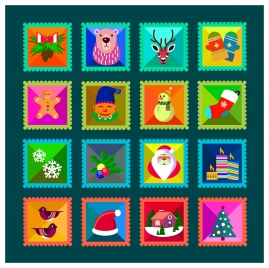 christmas stamps collection illustration with cute symbols