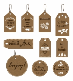 christmas tags design with symbols and dark background