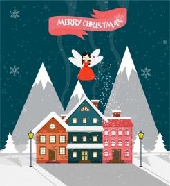christmas template design cute fairy and house design