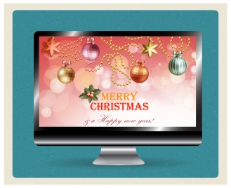 christmas template design on computer screen