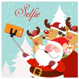 christmas template illustration with selfie santa and reindeers