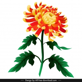 chrysanthemum floral icon blooming sketch colorful 3d design