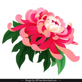 chrysanthemum petals painting colorful classical 3d sketch