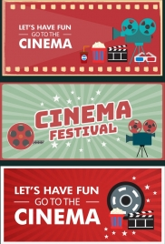 cinema banner templates colorful horizontal design various symbols