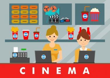cinema cashier desk decor colored human icon