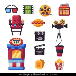 cinema design elements colorful flat symbols sketch