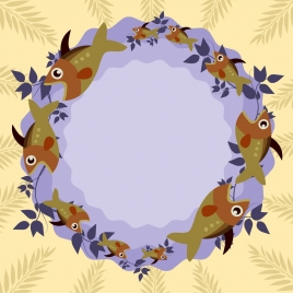 circle border template fish icons ornament repeating style