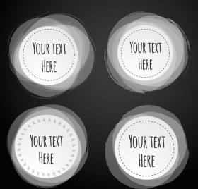 circle labels collection black white flat design