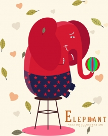 circus advertising elephant performance falling leaves colored cartoon