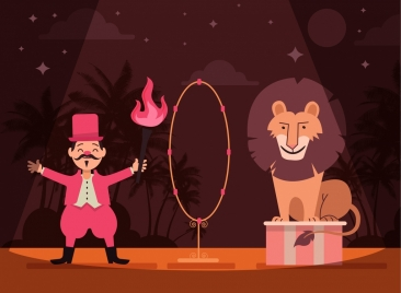 circus background lion trainer fire icons cartoon design