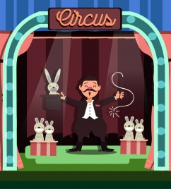 circus background magician rabbit icons colored cartoon