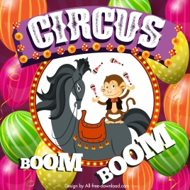 circus banner colorful balloons animals performance sketch