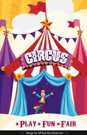circus banner tents clown sketch colorful classic design