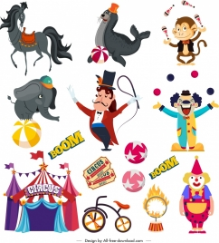 circus design elements animals clown tent performer sketch