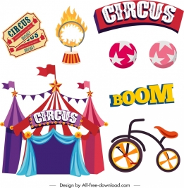 circus design elements colored classical icons sketch