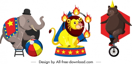 circus design elements elephant lion bear performance icons