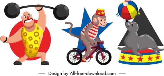 circus design elements performer animals icons cartoon characters