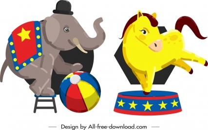 circus design elements performing elephant horse icons