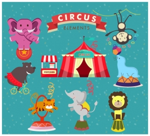 circus elements vector design with cute performing animals