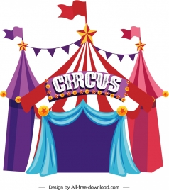 circus tent icon colorful classical design