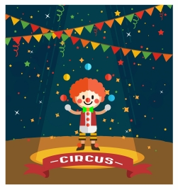 circus vector illustration with clown and juggle