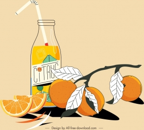 citrus fruit juice painting colored classical handdrawn design