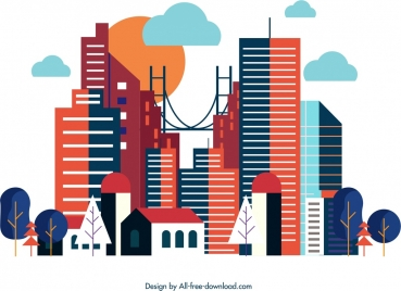 city background colorful modern design