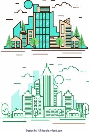 city background modern architecture icon colored flat sketch