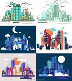 city background templates skyscrapers icon colorful modern sketch