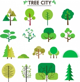 city design elements illustration with various trees