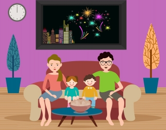 city fireworks theme happy family decoration