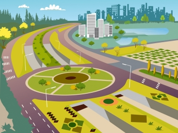city infrastructure painting road icon colorful modern design