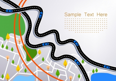 city map background curved road tree icons decor