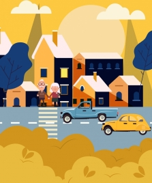 city painting road cars pedestrian houses icons decor