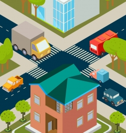 city traffic drawing colored 3d design cars icons