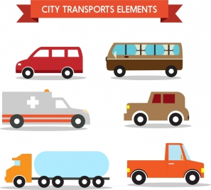 city transport elements design in various types