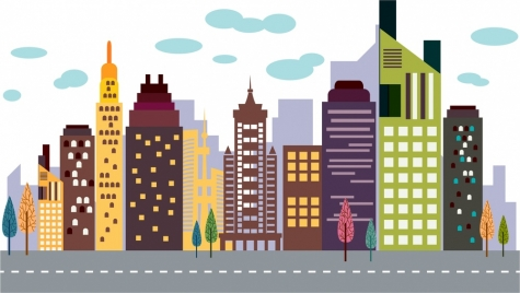 cityscape scheme design crowded high buildings on road