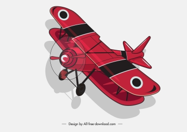 classic airplane icon red 3d sketch