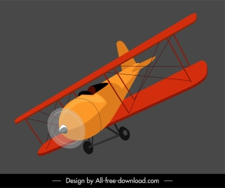 classic airplane model icon flying sketch 3d design