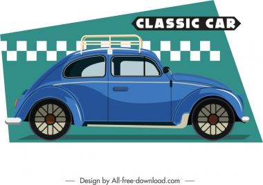 classic car template retro blue flat sketch