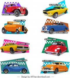 classic cars templates collection colorful 3d flat sketch