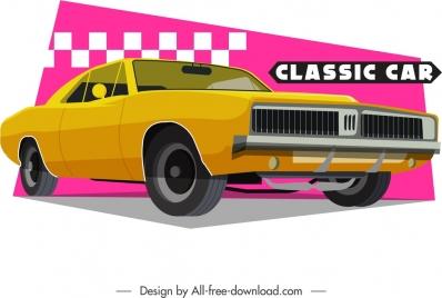 classical car template yellow 3d design