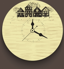 classical clock decoration background buildings trees icons