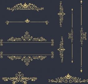 classical decor design elements various curved symmetry ornament