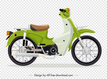 classical motorbike template green decor