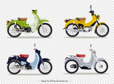 classical motorbike templates multicolored sketch