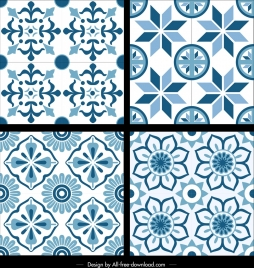 classical pattern templates blue flat repeating symmetrical decor