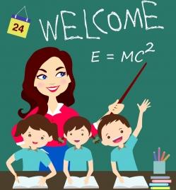 classroom background teacher pupil blackboard icons colored cartoon
