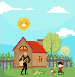 cleaning background father son icons cute cartoon decor