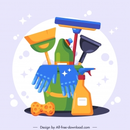 cleaning objects design elements shiny colorful flat sketch